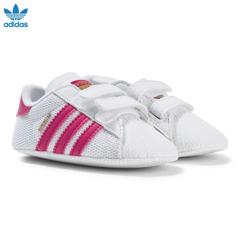 Pink and White Superstar Crib Trainers
