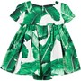 Dolce & Gabbana Green and White Leaf Print Cotton Dress with Briefs