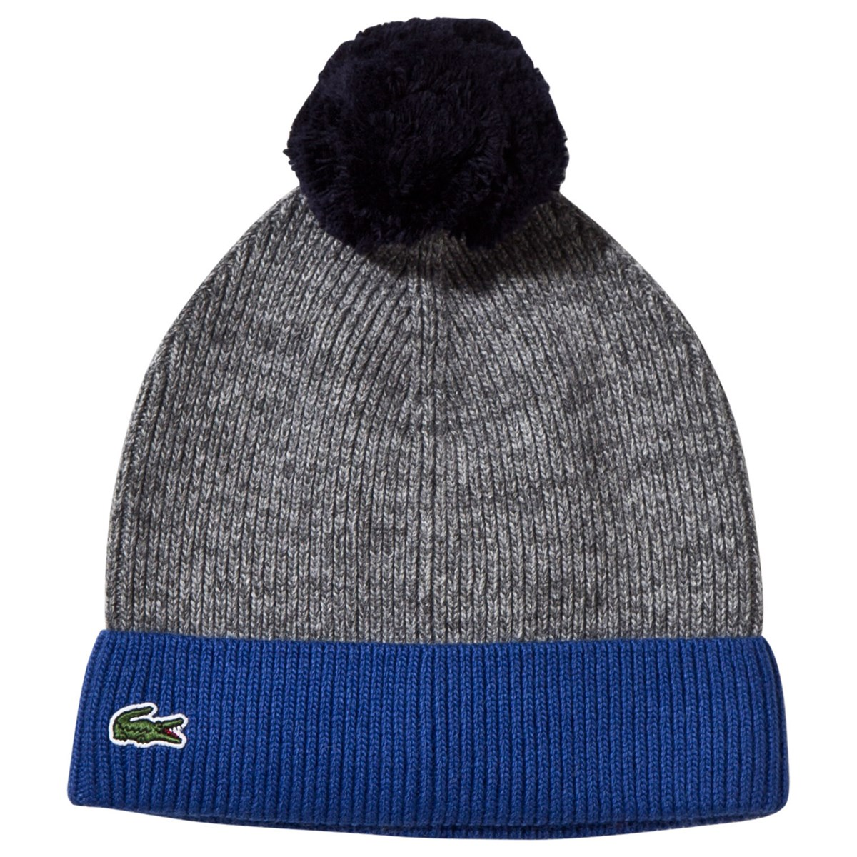 c816011f Lacoste Grey Contrast Turn-up Knitted Bobble Hat | AlexandAlexa