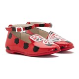 Sophia Webster Mini Bibi Red and Black Polka Dot Embroidered Butterfly Shoes