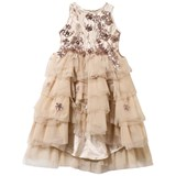 Lesy Gold Embroidered and Tulle Layered Dress