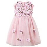 Lesy Pink Tulle Dress with Leather Flower Appliques