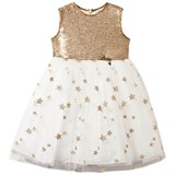 Lesy Gold Sequin and Tulle Star Embroidered Dress