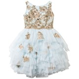 Lesy Blue and Gold Lace and Tulle Dress