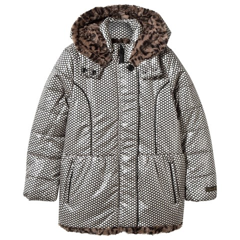 Heart Print Hooded Coat with Faux Fur Lining