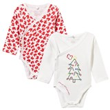 Stella McCartney Kids Pack of 2 Red and White Birdie Bodies