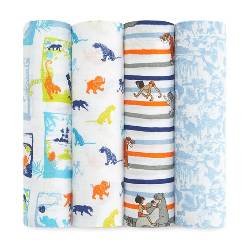 Aden + Anais Pack of 4 Disney Jungle Book Print Swaddles
