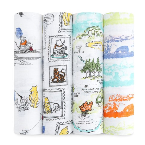 Aden + Anais Pack of 4 Disney Winnie the Pooh Print Swaddles