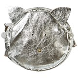 Easy Peasy Silver Metallic Leather Cat Bag