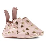 Easy Peasy Pink and Gold Heart Print Leather Crib Shoes