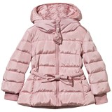 Monnalisa Pink Hooded Puffer Coat with Bow Belt