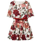 Monnalisa White and Red Rose Print Woven Dress