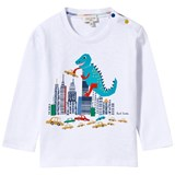 Paul Smith Junior White Dinosaur Print Long Sleeve Tee