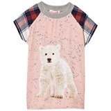 Anne Kurris Pink Polar Bear Print Dress with Tartan Sleeves