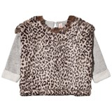 Anne Kurris Grey Sweatshirt with Faux Leopard Fur