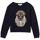 Anne Kurris Navy Lion Face Applique Sweatshirt