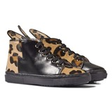 Minna Parikka Leopard Print Leather Bunny Hi-Top Trainers