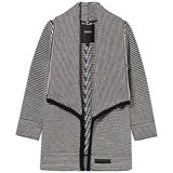 DKNY Black and White Stripe Knit Waterfall Cardigan