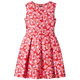 Oscar De La Renta Red and Pink Petite Roses Sleeveless Dress
