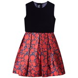 Oscar De La Renta Navy Velvet and Red Floral Sleeveless Dress with Bow Back