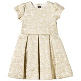 Oscar De La Renta Gold Jacquard Dress with Bow Back