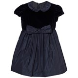 Il Gufo Navy Velvet Bow Dress
