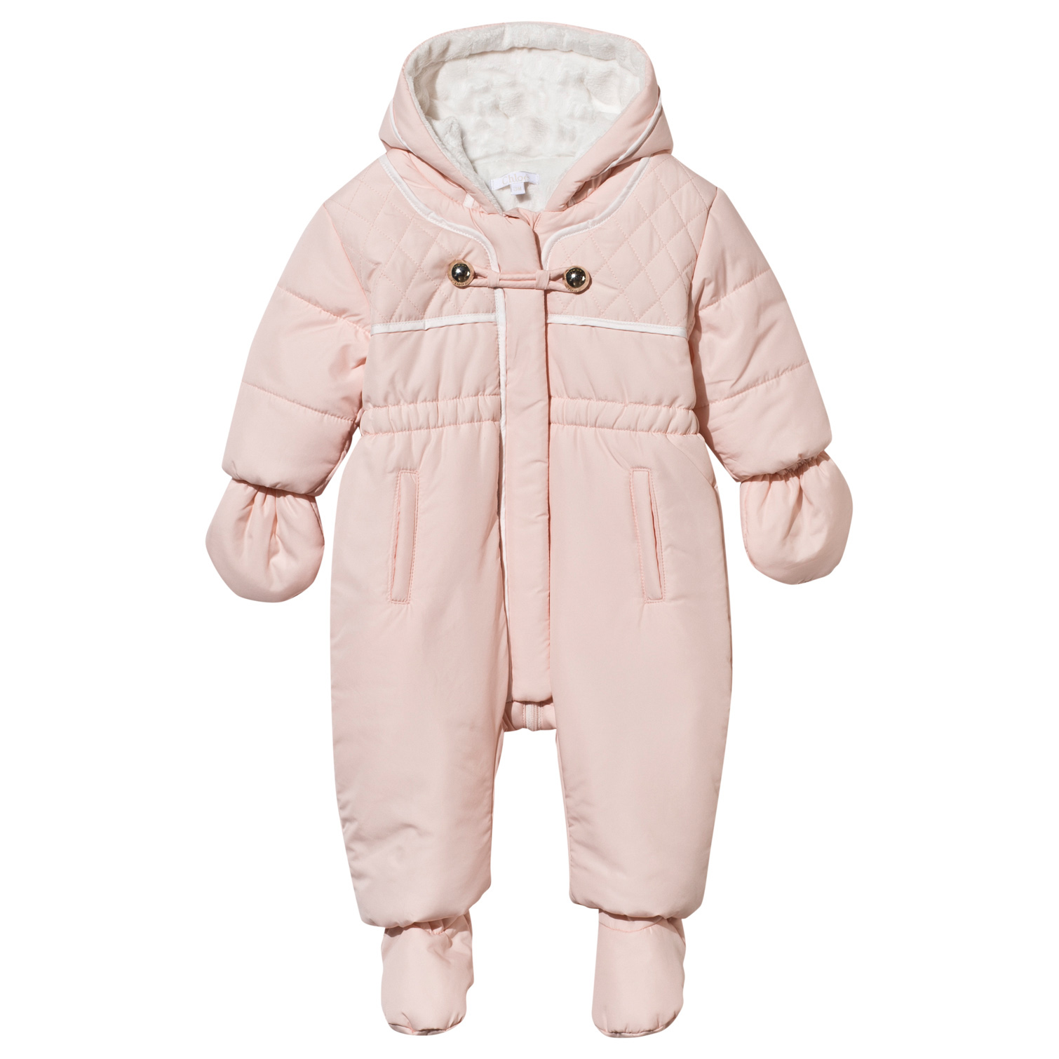 01c2c8b71 Chloé Pink Quilted Snowsuit with Detachable Mittens and Booties ...