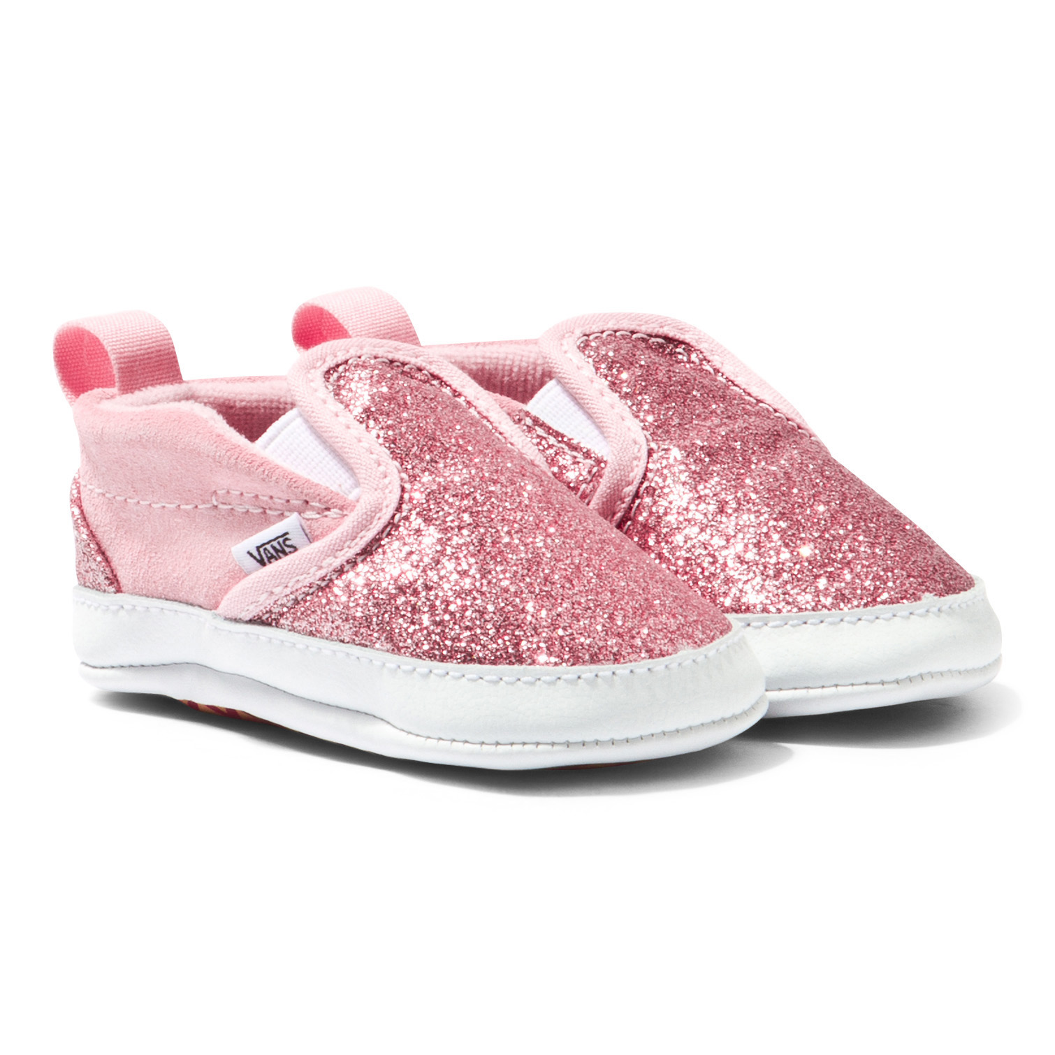 ff0cd09f2f Vans Pink Shimmer Slip On V Crib Shoes