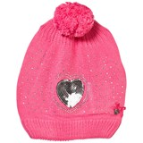 Le Chic Hot Pink Sequin Heart Hat and Scarf Set