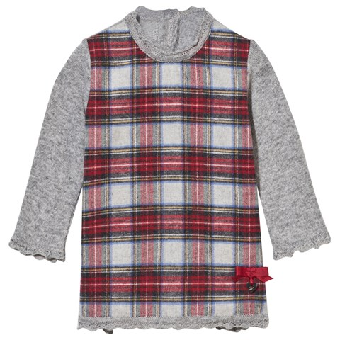 Grey and Red Flannel Tartan Dress