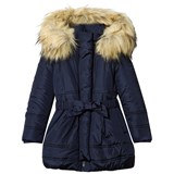 Monnalisa Navy Padded Hooded Coat with Bow Belt