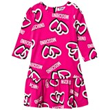 Moschino Pink Heart Print Jersey Dress