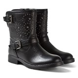 Geox Sofia Black Leather Studded Boots