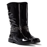 Lelli Kelly Ann Tall Black Patent Jewelled Boots