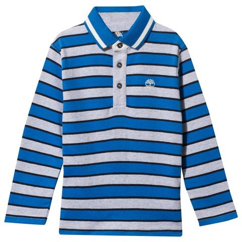 Bright Blue and Grey Stripe Jersey Polo