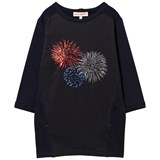 Anne Kurris Navy Sweater Dress with Sequin Fireworks