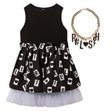Relish Black Printed Skirt Party Dress with Necklace