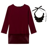 Relish Burgundy Faux Fur Hem Milano Dress and Necklace