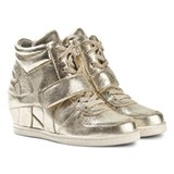Ash Shoes Babe Gold Platine Lace Up Wedge Boots