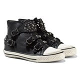 Ash Shoes Black Frog Nappawax Leather Studded Boots