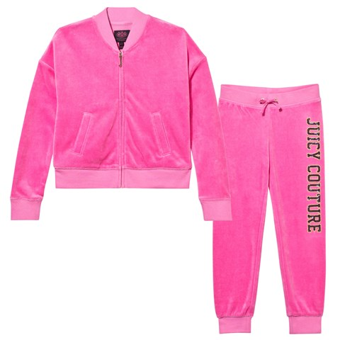 Pink Glamourous Sequin Logo Tracksuit