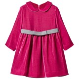 Il Gufo Hot Pink Velvet Dress with Bow Belt
