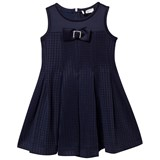 Monnalisa Navy Lazer Cut Neoprene Fit and Flare Dress