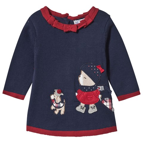 Mayoral Navy Knit Bear and Dog Applique Dress with Spot Back