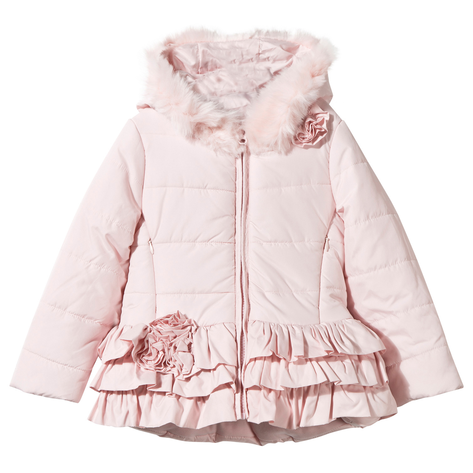 5f907d18444ed Kate Mack - Biscotti Pink Puffer Coat with Ruffle Trim and Faux Fur Hood