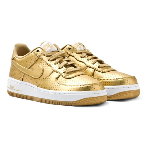 Metallic Gold Air Force 1 Trainers