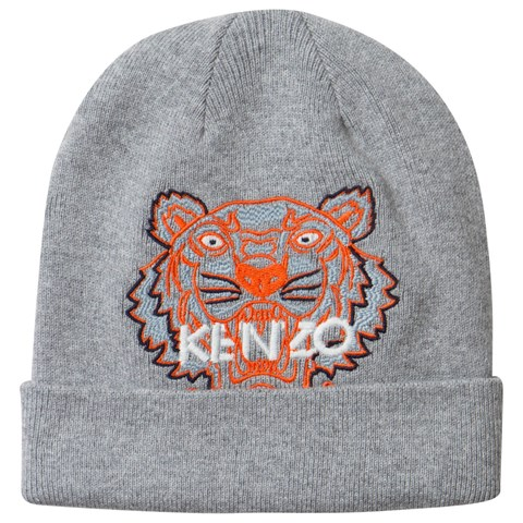 Kenzo Kids Grey and Orange Embroidered Tiger Beanie  6e7bdce3230