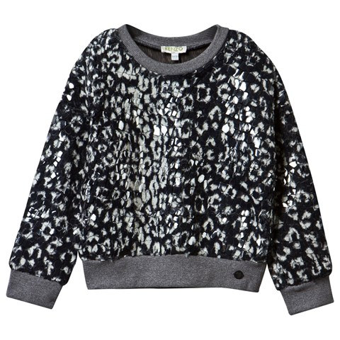Printed Faux Fur Sequin Sweatshirt