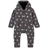 The Little Tailor Grey Swallow Print Hooded All-in-One