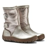 Pom D'api Silver Leather Sheepskin-Lined Warm Boots